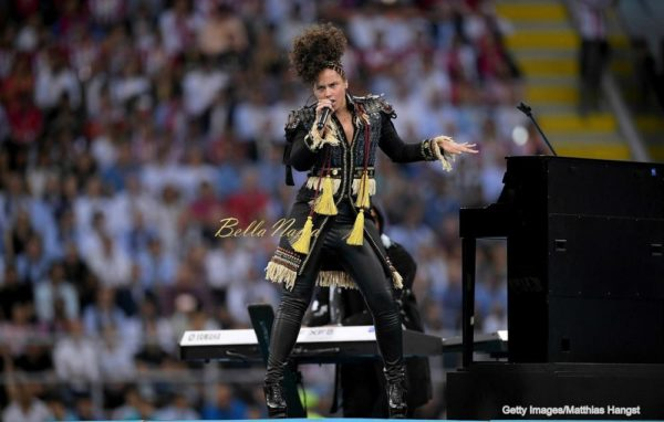 MILAN, ITALY - MAY 28: Alicia Keys performs during Champions League final opening ceremony during the UEFA Champions League Final match between Real Madrid and Club Atletico de Madrid at Stadio Giuseppe Meazza on May 28, 2016 in Milan, Italy. (Photo by Matthias Hangst/Getty Images)