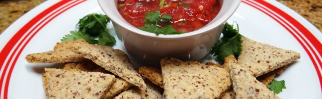 "Almond Crust ""Tortilla"" Chips & Salsa"