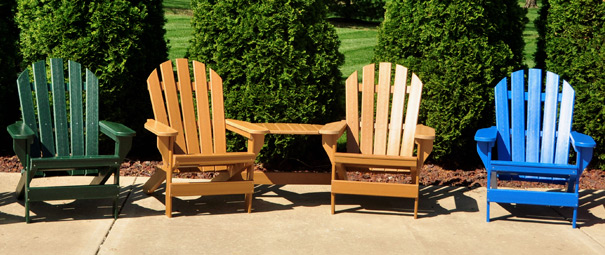 Cape Cod Recycled Plastic Adirondack Chairs With Optional TeteATete  Belson Outdoors