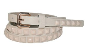 Ladies Skinny Belt With Pyramid Decos