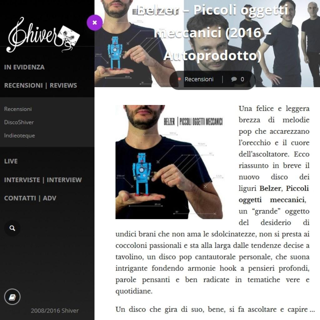 Bollettino stampa: recensione Shiver Webzine
