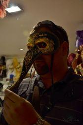 having fun trying on masks