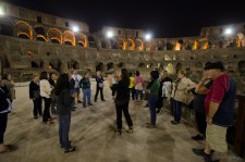 On the floor where gladiators would have fought to the death