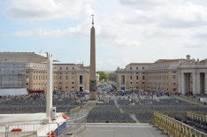 In the center of the square is a four-thousand-year-old Egyptian obelisk, erected at the current site in 1568. The Vatican Obelisk is the only obelisk in Rome that has not toppled since ancient Roman times. During the Middle Ages, the gilt ball on top of the obelisk was believed to contain the ashes of Julius Caesar. This celebrated obelisk nearly shattered while it was being moved. Upon orders of the pope, no one was to speak a word otherwise he would be excommunicated. However, a sailor shouted to water the ropes to prevent them from burning. He was forgiven and in gratitude for saving the day, the palms for Palm Sunday still come from the sailor's home town of Bordighera. The moving of this obelisk was celebrated in engravings during its time to commemorate the Renaissance's recovery and mastery of ancient knowledge.