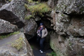 hiding in a volcanic cave