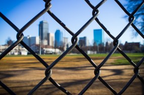 Baseball field with view of Boston