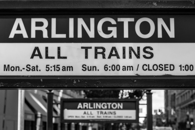 Arlington T stop in Boston