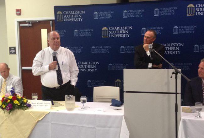 Pictured: Mayor Michael Heitzler addresses audience.