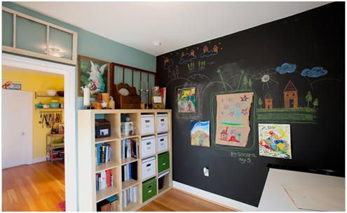 Magnetische Tafelfarbe im Kinderzimmer macht eine Wand zur Galerie