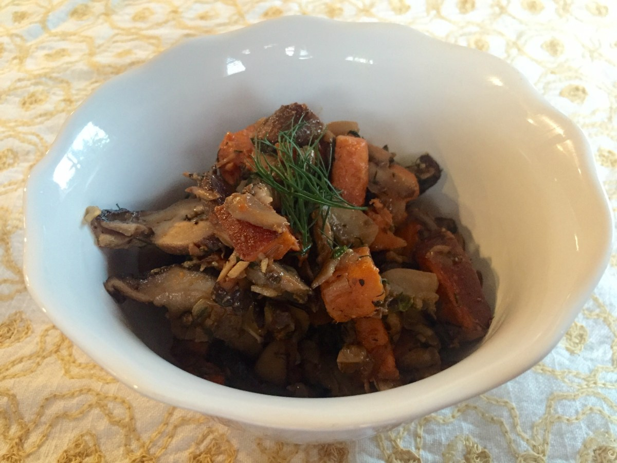 Russian style sauteed sweet potatoes with onions and mushrooms
