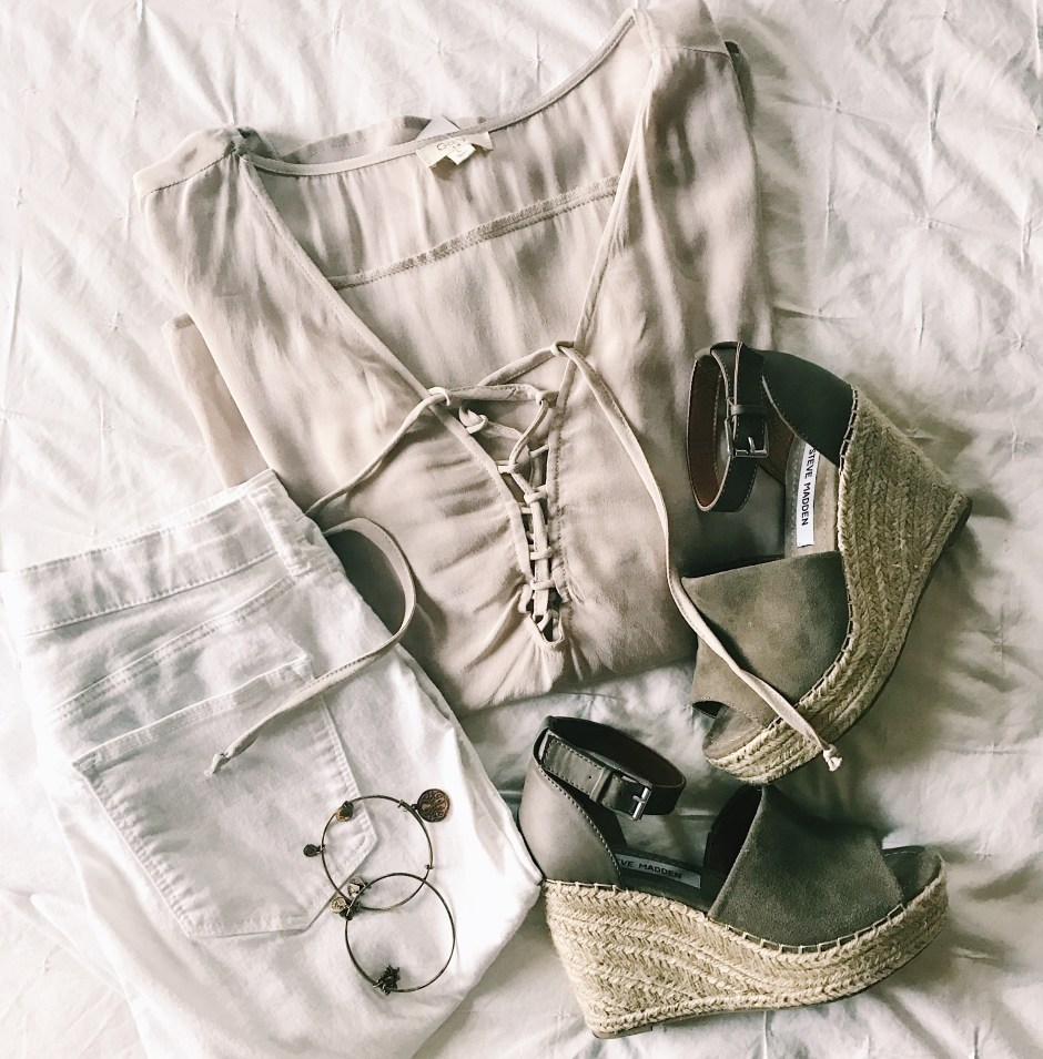 wedges, spring outfit