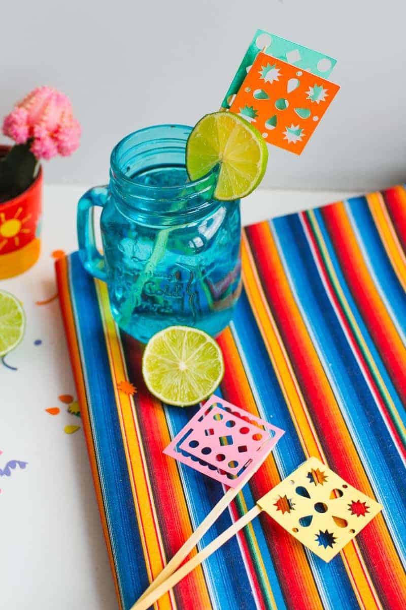 DIY Papel Picado Flag Drink Stirrers Wedding Decor Cricut Explore Colourful Mexican theme_-14