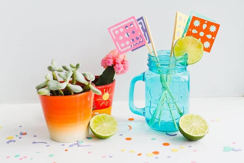 DIY Papel Picado Flag Drink Stirrers Wedding Decor Cricut Explore Colourful Mexican theme_-4