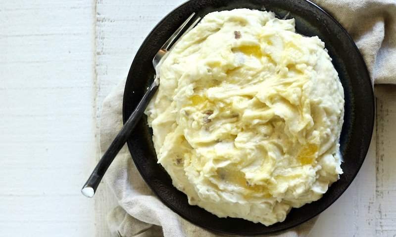Creme fraiche mashed potatoes are tangy, buttery, and delicious!