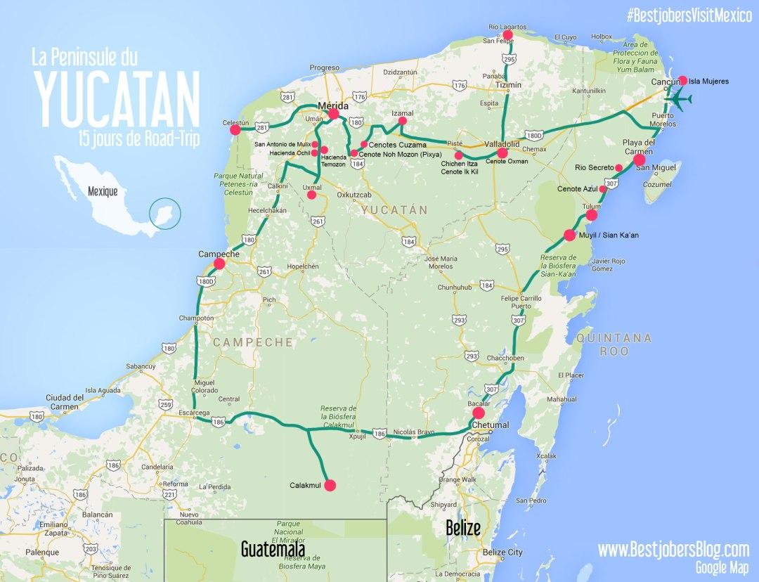 Road trip Yucatan carte détaillée