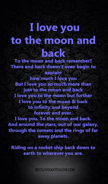 I Love You To The Moon And Back Best Love Quotes