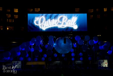 The decorated dining area at the Rogers Centre for the Curve Ball