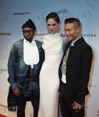 Coco Rocha with Greta Constantine's Kirk Pickersgill and Stephen Wong