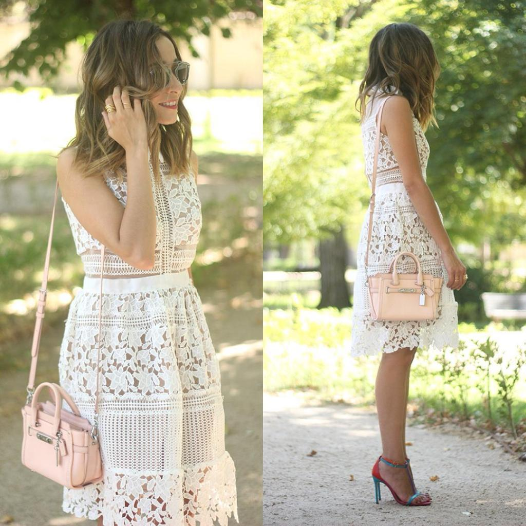White lace dress ootd outfit lace white dress coach baghellip