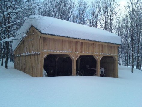 Barn with a snow load