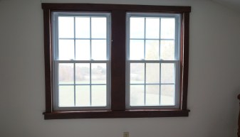 Cabin windows trimmed out