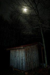 Tool shed under moon light