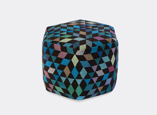 Diamond medallion blue green tall pouf