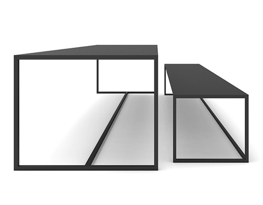 Supermetal Table and Bench by Chiara Ferrari