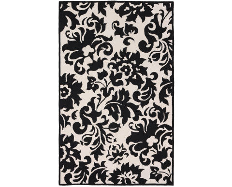 black and white contemp rug