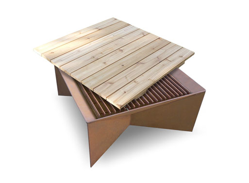 Geometric Firepit wood top