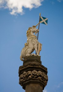 The unicorn carrying the Saltire