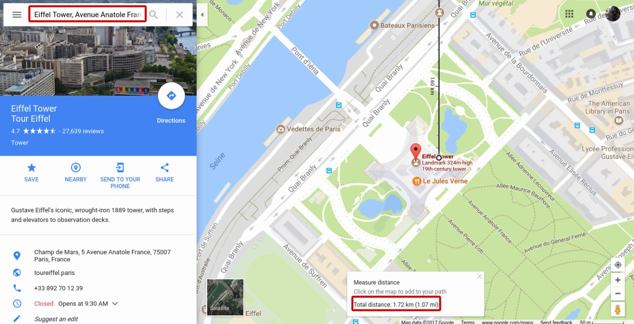 How to Measure Distance Between Two Places in Google Maps     Better     As you can see on the screen capture above  notice the red rectangle at the  bottom   the total distance between Arc de Triomphe and Eiffel Tower