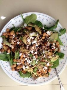 chickpea avodcado feta salad