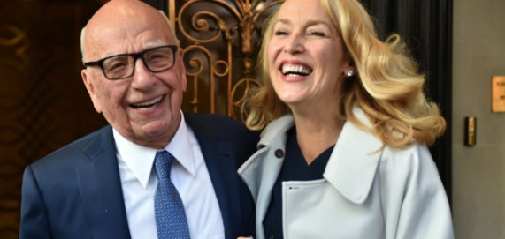 Photo by: KGC-42/STAR MAX/IPx 3/4/16 Rupert Murdoch and Jerry Hall leave Scotts Restaurant Mayfair after their wedding lunch. Murdoch and Jerry Hall were married today at Spencer House, London and there will be a celebration at St. Bride's Church, Fleet Street, London tomorrow. (London, England)