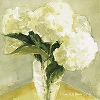 Watercolor White Hydrangea Print