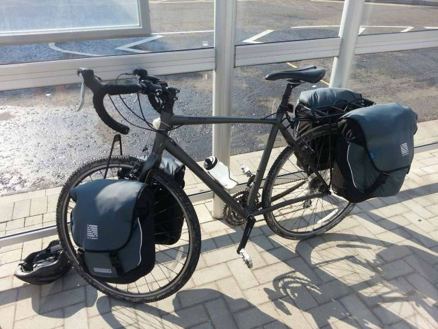 Sarah's pannier laden bicycle at Portsmouth ferry port