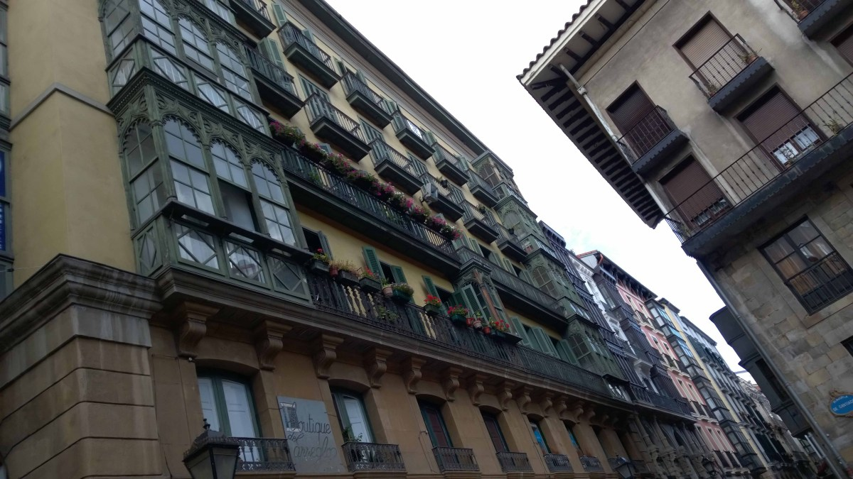 Photograph of balconies in Bilbao Old Town.