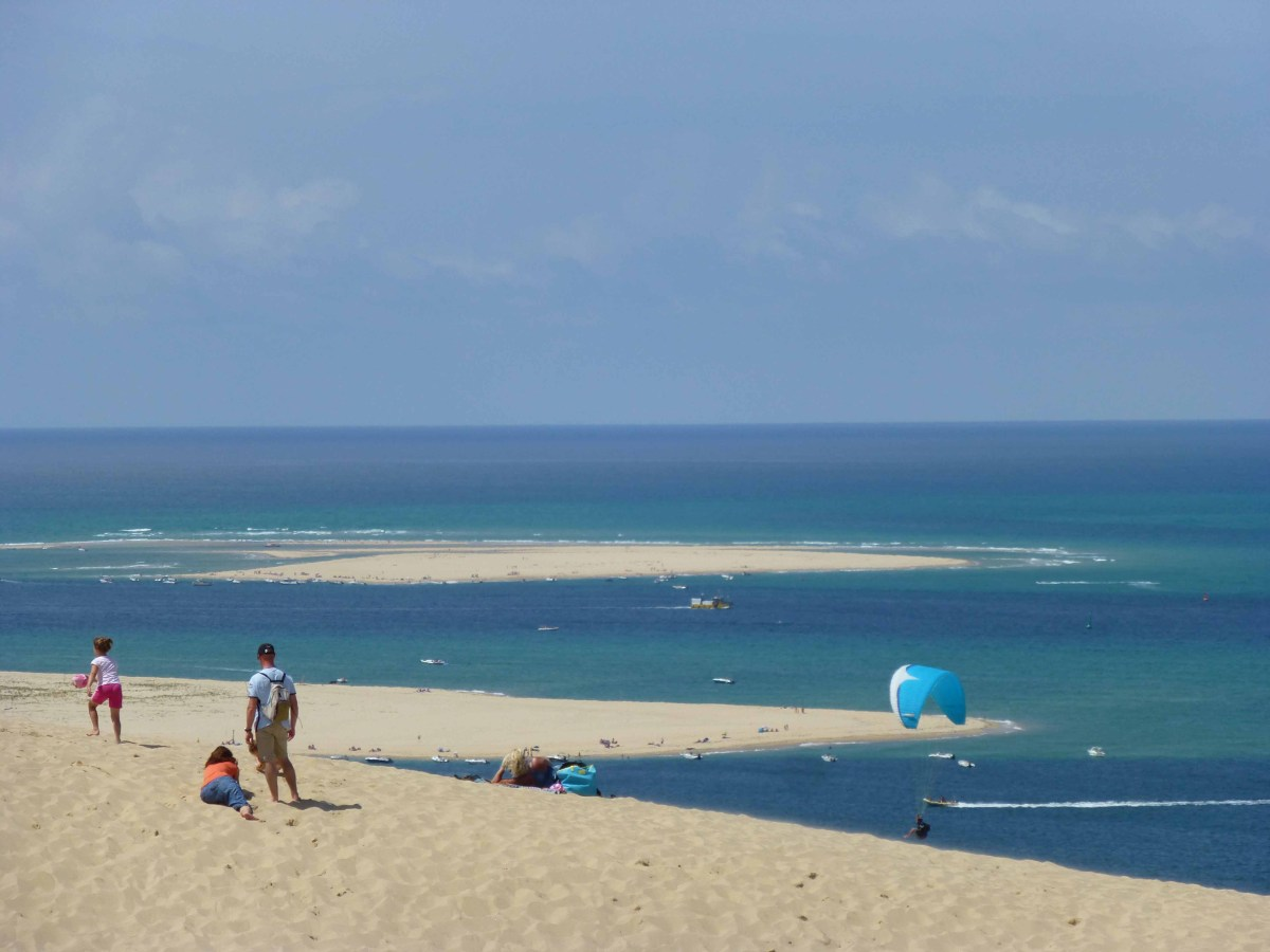 Photograph taken from top of sand dune at Pyla looking out to Arcachon Bay.