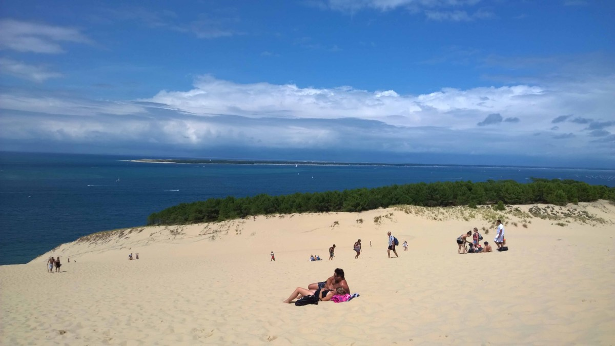 Photograph of Pyla sand dune with the sea in the background.
