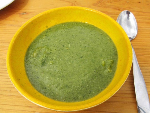 Photograph of a bowl of broad bean, courgette, and broad bean tip soup