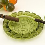 Avocado green Zodiac ashtray made in the 1980's by Imperial Glass.