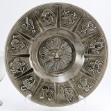 "Vintage Zodiac ashtray with detailed zodiac birth signs. Huge party size ashtray measures 11"" round."
