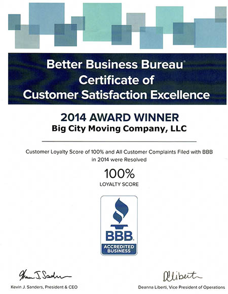 Award Winning Boston Moving Company BBB 2014