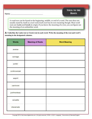 Greek and Latin Affixes and Roots | Fifth Grade English Worksheets | Biglearners