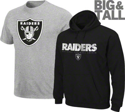 Big and Tall Oakland Raiders Apparel, T-Shirts, Sweatshirts