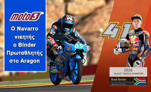 Moto3: Ο Navarro νικητής, ο Binder Πρωταθλητής στο Aragon