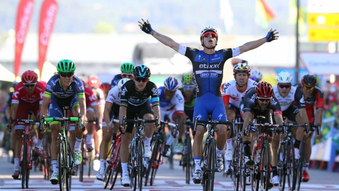 Cycling: 71st Tour of Spain 2016 / Stage 2 Arrival / Gianni MEERSMAN (BEL) Celebration /  Michael SCHWARZMANN (GER)/ Magnus CORT NIELSEN (DEN)/ Michal KWIATKOWSKI (POL)/ Jonas VANGENECHTEN (BEL)/ Kristian SBARAGLI (ITA)/ Niccolo BONIFAZIO (ITA)/ Jhonatan RESTREPO (COL)/ Jean-Pierre DRUCKER (LUX)/ Ourense capital termal - Baiona (160,8km)/ La Vuelta / © Tim De Waele