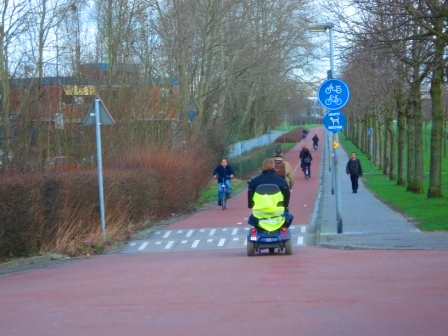Bike-only roads also used by those in wheelchairs in Groningen, Netherlands. Image Credit: Zachary Shahan / Bikocity
