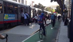 San Francisco Protected Bicycle Lane Meshes Well With Transit Stop