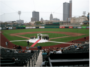 Fort Wayne's Parkview Field being used for a wedding